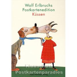 Wolf Erlbruch Postkartenbuch 'Küssen' - Titelbild