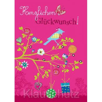 Herzlichen Glückwunsch - rosa Geburtstagskarte Postkarte