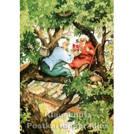 Taurus Postkarte von Inge Löök - Alte Frauen feiern im Baum