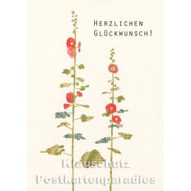 Holzschliffpappe Postkarte von Studio Blankensteyn | Herzlichen Glückwunsch - Stockrose