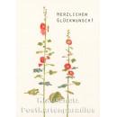 Holzschliffpappe Postkarte von Studio Blankensteyn   Herzlichen Glückwunsch - Stockrose