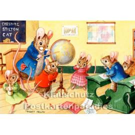Mäuseschule   Taurus Kinder Postkarte von Racey Helps