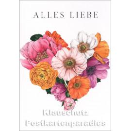 Doppelkarte zum Geburtstag mit Blumen von Catherine Lewis - Alles Liebe