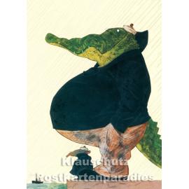 Freunde - Krokodil | Postkarte von Wolf Erlbruch aus dem Peter-Hammer-Verlag