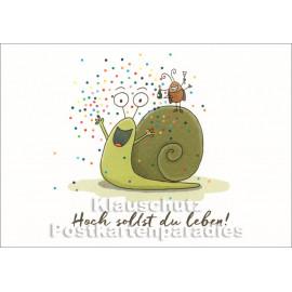 SkoKo Postkarte Geburtstag - Schnecke - Hoch sollst du leben!