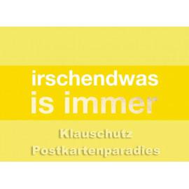 Hessen Postkarte von Cityproducts mit goldfarbener Lackierung - Irschendwas is immer