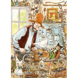 Pettersson und Findus bei der Auto Reparatur | Postkarte
