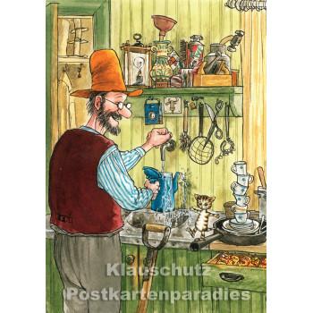 Postkarte Kinder - Pettersson und Findus mit der Kaffeekanne