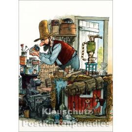 Pettersson und Findus in der Werkstatt - Postkarte