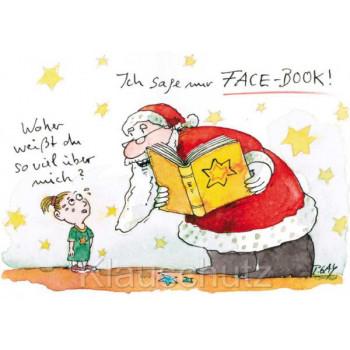 Lustige Facebook Weihnachtskarte Postkarte von Peter Gaymann
