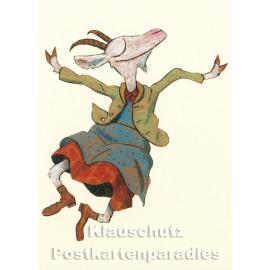 Glück - Ziege | Postkarte von Wolf Erlbruch aus dem Peter-Hammer-Verlag