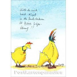 Discordia Postkarte mit Hühnern - Peter Gaymann | Kopf in den Sand stecken