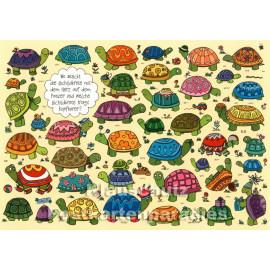 Wimmelbild Postkarte von SkoKo | Wo steckt die Schildkröte mit dem Herz?