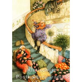 Taurus Postkarte von Inge Löök - Alte Frauen rutschen auf dem Geländer