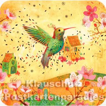 Kolibri (Hummingbird) - Quadrakarte mit partieller goldfarbener Lackierung