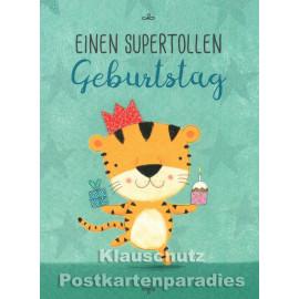 Einen supertollen Geburtstag | Little Greetings Midi-Doppelkarte mit Tiger