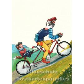 Postkarte aus dem 'Peter Hammer Verlag' von Leonard Erlbruch - Tandem