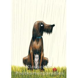 Regen | Postkarte von Wolf Erlbruch aus dem Peter-Hammer-Verlag