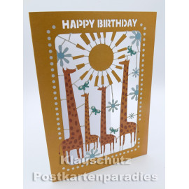 Happy Birthday Giraffen | Laser Cut Doppelkarte