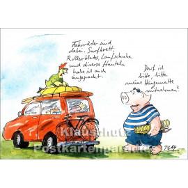 Discordia Postkarte von Peter Gaymann | Huhn und Schwein fahren in den Urlaub