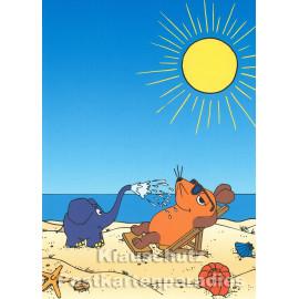 Postkarte | Maus und Elefant (vom WDR) im Sommerurlaub