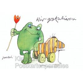 Janosch Glückwunschkarte zum Geburtstag mit Frosch und Tigerente - Wir gratulieren