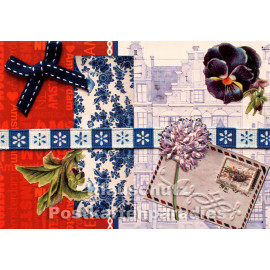 Carte Postale Postkarte - Nostalgie Karte in rot und blau