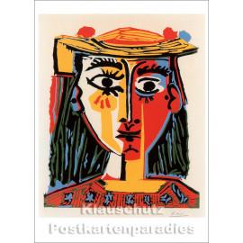 Pablo Picasso - Frau mit Pompons-geschmücktem Hut | Kunst Postkarte