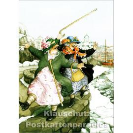 Taurus Postkarte von Inge Löök - Alte Frauen auf der Kaimauer