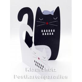 Aufstellkarte Katzen mit weißer und schwazer Katze | ActeTre Doppelkarte