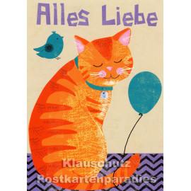 Katze mit Vögelchen - Alles Liebe | Postkarte