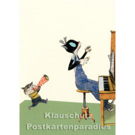 Postkarte Wolf Erlbruch aus dem Peter-Hammer-Verlag - Trötenlärm