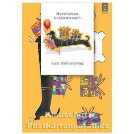 Bastelkarte von ActeTre mit Dackel | Herzlichen Glückwunsch zum Geburtstag