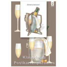 Bastelkarte von ActeTre mit Sektkübel | Gratulation