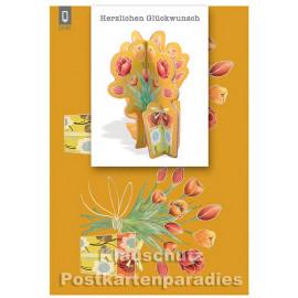 Bastelkarte von ActeTre mit Tulpen | Herzlichen Glückwunsch