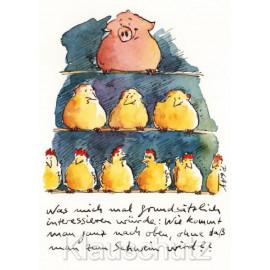 Zum Schwein werden ... Lustige Peter Gaymann Comic Postkarte mit Hühnern