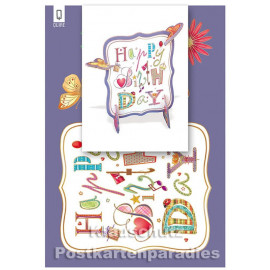 Bastelkarte von ActeTre mit Schmetterling | Happy Birthday