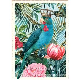 Retro Glitterkarte von ActeTre mit Wellenschnitt | Vogelkönig