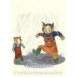 Postkarte von Wolf Erlbruch aus dem Peter-Hammer-Verlag - Pfützenspaß