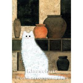teillackierte Discordia Postkarte mit weißer Katze