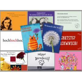 10 schöne und lustige Geburtstagskarten vom Postkartenparadies im Spar-Paket.