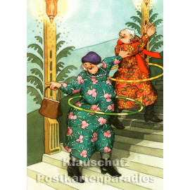 Taurus Postkarte von Inge Löök - Alte Frauen machen Hula Hoop