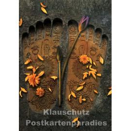 Buddha`s Footprints | spirituelle Postkarte von Tushita