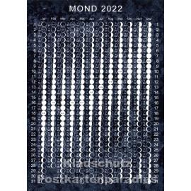Neu- und Vollmondzeiten - Postkarte mit allen Mondphasen des aktuellen Jahres 2022.