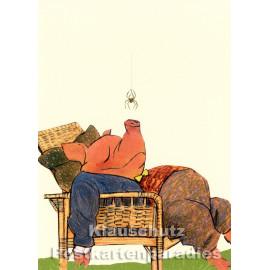 Postkarte von Wolf Erlbruch aus dem Peter-Hammer-Verlag - Punktlandung
