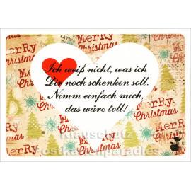 Ich weiß nicht, was ich Dir schenken soll. - Mainspatzen Postkarte Weihnachten