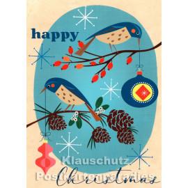 Retro Weihnachtskarte  mit Vögeln von Bizarr - Happy Christmas