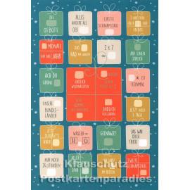 Taurus Postkarten Adventskalender | Doppelkarte mit Klapptürchen - Zahlenrätsel