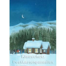 Discordia Weihnachtskarte  - Hütte im Schnee mit Wichtel und Hase