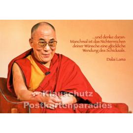 Dalai Lama - Glückliche Wendung des Schicksals | spirituelle Postkarte von Tushita